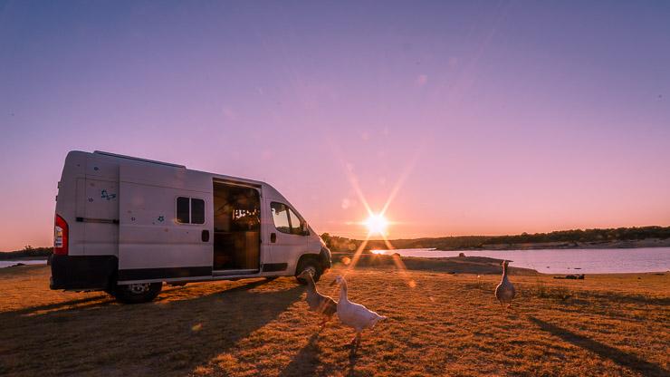 Ducato Tiere Stausee Sonnenuntergang Portugal