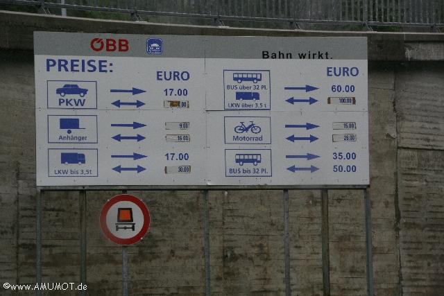 Preise Autozug Villach