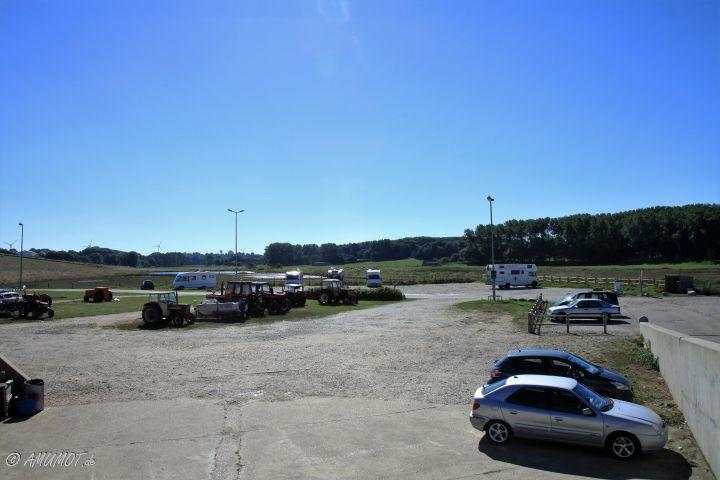 Blick auf den Stellplatz in Saint-Aubin-sur-Mer