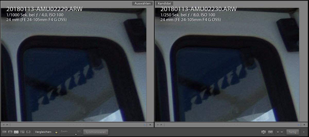 Vergleich SEL24105G bei 24mm 4 zu f8 in der Ecke