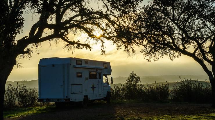 Sonnenaufgang mit Wohnmobil unter Bäumen