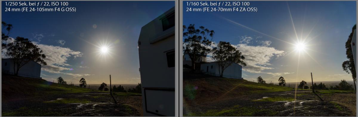Vergleich Sonnensterne Sony 24-105 F4