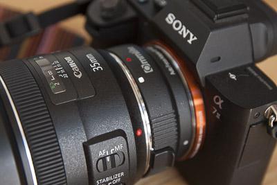 Sony @7 Mark 2 mit Commlite (EF-NEX) Adapter und Canon EF 35mm f2 IS USM