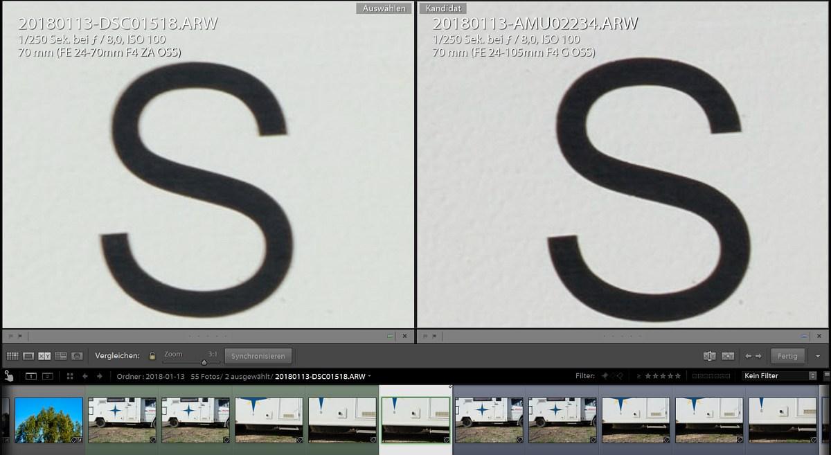 Vergleich SEL24105G zu SEL2470z bei 70mm f8 erweitertes Zentrum