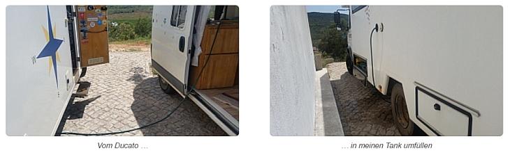 Von Wohnmobil zu Wohnmobil Wasser tanken